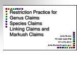 restriction practice for genus claims species claims linking claims and markush claims1