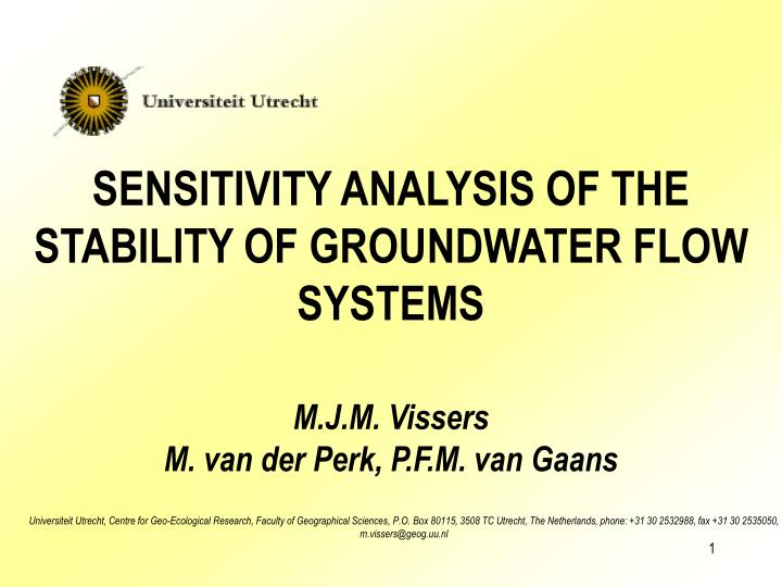 sensitivity analysis of the stability of groundwater flow systems n.