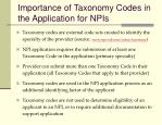 importance of taxonomy codes in the application for npis