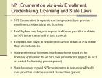 npi enumeration vis vis enrollment credentialing licensing and state laws