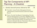 top ten components of npi planning a checklist1