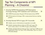 top ten components of npi planning a checklist3