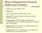 what is required from covered health care providers