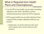 what is required from health plans and clearinghouses