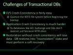 challenges of transactional dbs