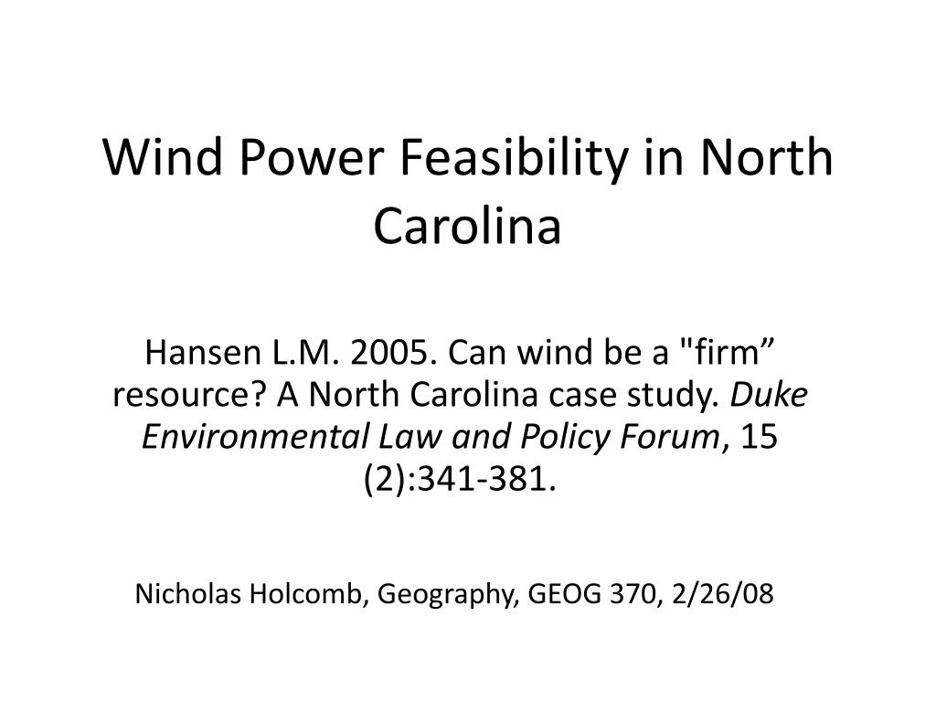 wind power feasibility in north carolina l.