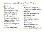 coaches issues from prior years