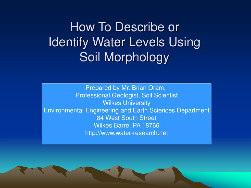 how to describe or identify water levels using soil morphology l.