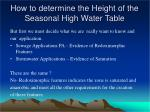 how to determine the height of the seasonal high water table