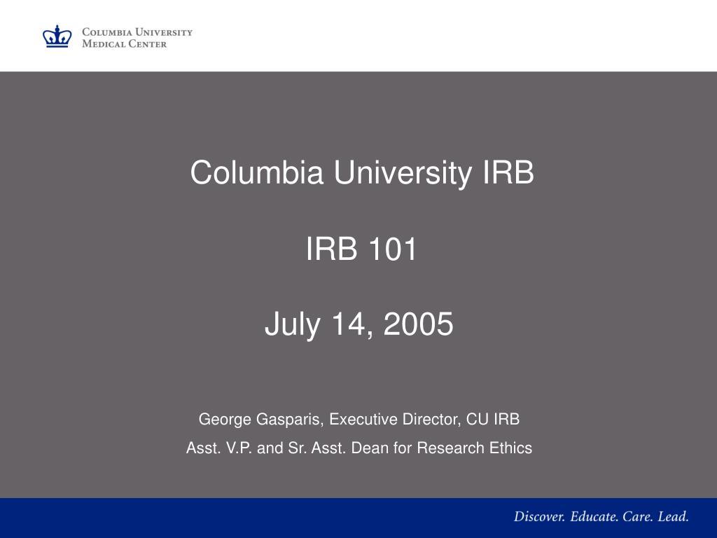 columbia university irb irb 101 l.