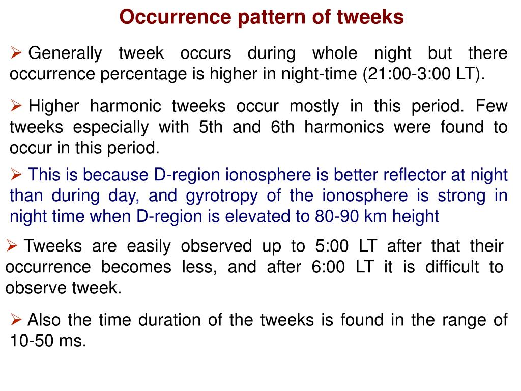 Occurrence pattern of tweeks