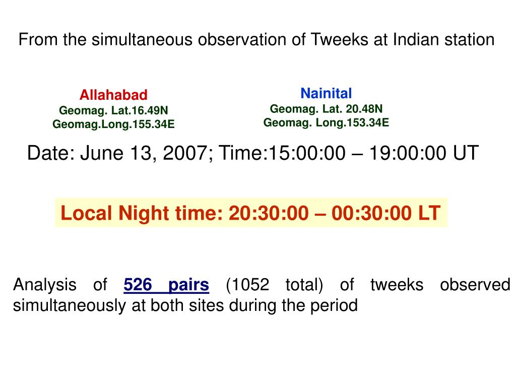 From the simultaneous observation of Tweeks at Indian station