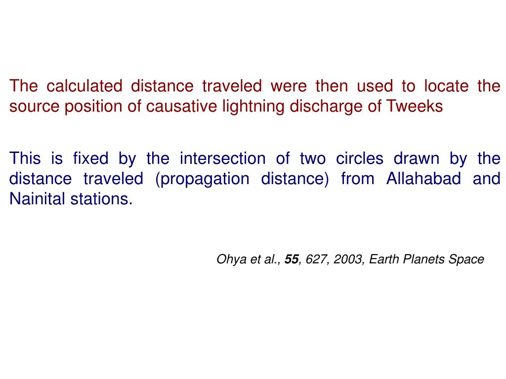 The calculated distance traveled were then used to locate the source position of causative lightning discharge of Tweeks