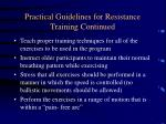 practical guidelines for resistance training continued