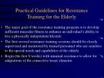 practical guidelines for resistance training for the elderly