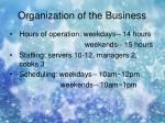 organization of the business