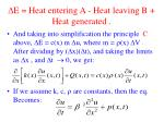 e heat entering a heat leaving b heat generated