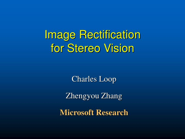 image rectification for stereo vision n.