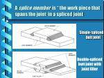 a splice member is the work piece that spans the joint in a spliced joint