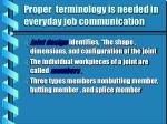 proper terminology is needed in everyday job communication