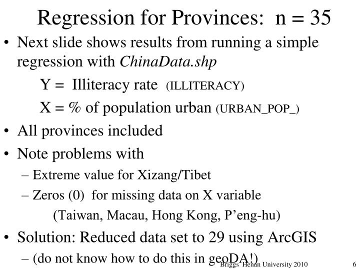Regression for Provinces:  n = 35