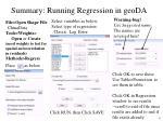 summary running regression in geoda