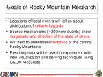 goals of rocky mountain research