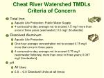 cheat river watershed tmdls criteria of concern