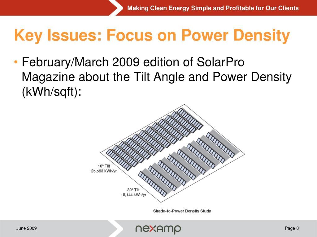Key Issues: Focus on Power Density