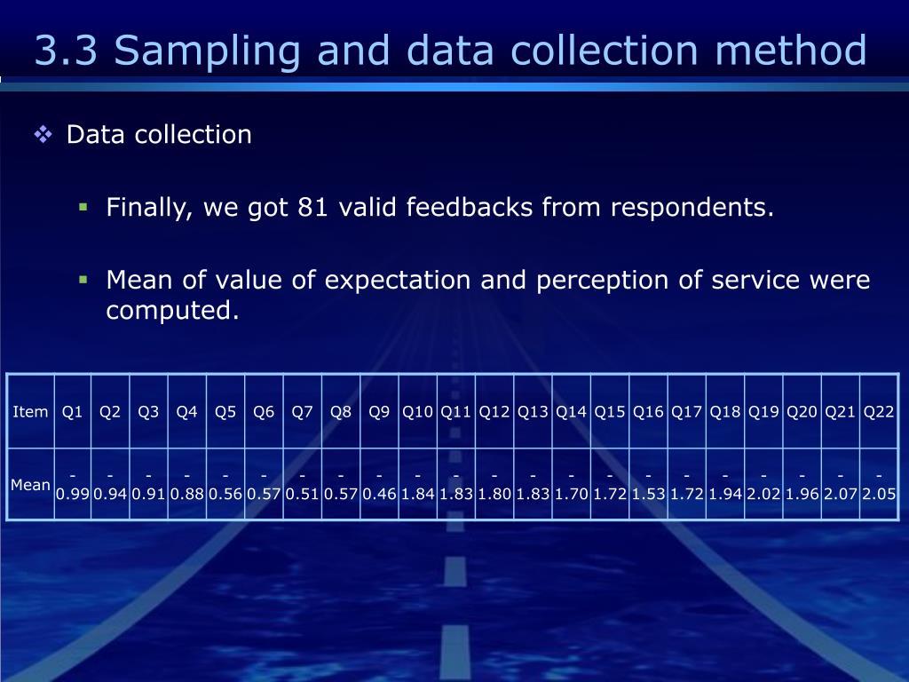 3.3 Sampling and data collection method