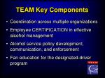 team key components