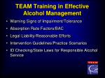 team training in effective alcohol management