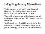 in fighting among alternatives
