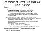 economics of direct use and heat pump systems