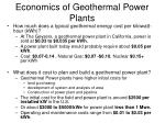 economics of geothermal power plants