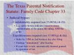 the texas parental notification statute family code chapter 33