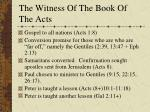 the witness of the book of the acts