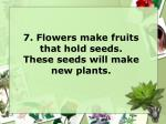 7 flowers make fruits that hold seeds these seeds will make new plants