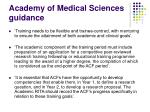 academy of medical sciences guidance