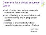 deterrents for a clinical academic career