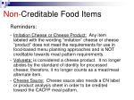 non creditable food items