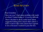 read the letter