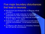 five major boundary disturbances that lead to neurosis