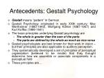 antecedents gestalt psychology