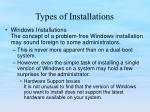 types of installations1