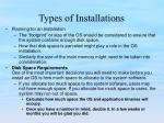 types of installations10