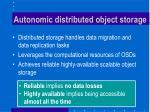 autonomic distributed object storage