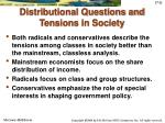 distributional questions and tensions in society