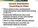 income distribution according to class