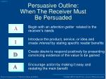 persuasive outline when the receiver must be persuaded